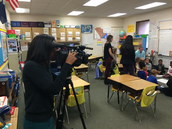 B. Blackwell's class being videoed for WLTX school choice story.