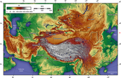 Topography Map of Asia