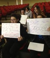 Italian students greet their new friends!