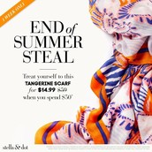 End of Summer Steal - Tangerine Scarf for $14.99  with a $50 purchase