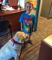 Willow enjoys a student visit!