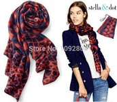 Red and Marine Blue Ikat Scarf