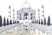 One of the drawings of the Taj Mahal