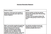 American Revolution Research in Google Docs