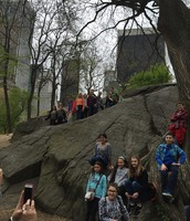 6th grade EAGLE students pose for a quick pic in Central Park.