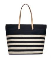 Hudson Tote- Black & White Stripe