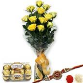 Yellow Roses N Rakhi-Price$23.35