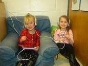 Ambree and Layla with Leap Pads