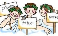 Ancient Athens practicing democracy