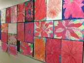 Oil Pastel Pointsettias by Ms Dionne's Gr. 5/6 Class
