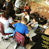 Hybrid learning in Mr. Strayer's classroom