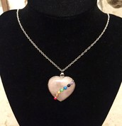 Pink Rose Quartz Chakra Love Heart Pendant Necklace - with Sterling Silver Chain