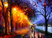 """ALLEY BY THE LAKE - Palette knife Oil Painting on Canvas by Leonid Afremov - Size 24""""x30"""""""