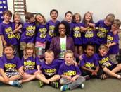 1st graders with K-4 principal, Mrs. Buchanan-Rivera