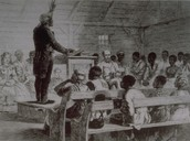 Slaves conducting church meeting with slave owner in attendance.