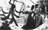 A tapestry of Joan in battle