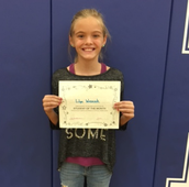 6th Grade Student of the Month for September- Lilyn