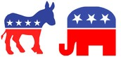 The symbol for the Democratic  and Republicans