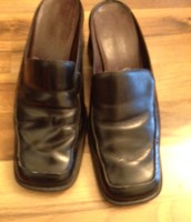 Black Leather size 7M women's slip on shoes with heel. $10 OBO
