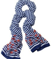 Scarf - Palm Springs Navy Stripe w/ Elephants $15 (damaged)