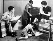 Families gathered by the Radio