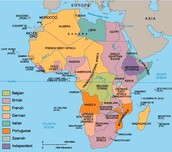 A map of the European control over Africa
