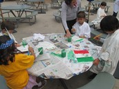 Painting our very own Mexican flags in Mrs. Agundez's class
