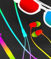 Sunglasses and Earbuds (colorized)