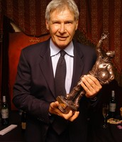 Harrison Ford with his Saturn award