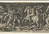 Strijd tussen Grieken en Trojanen.