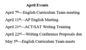 English Curriculum Updates and Events