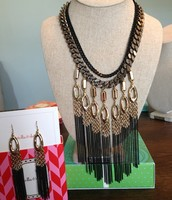 Lillith Fringe Necklace and Earrings