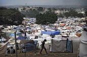 A tent city of Haitian refugees