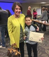 Ms. Boyd Congratulating Gerardo!