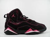 Black, white and pink Jordan's.