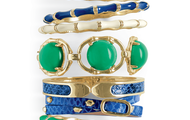 Enamel and leather wrap bracelets in the new colors of this season.