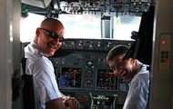 Here is an example of Airline pilots flying