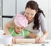 Karen and her mom baking chocolate cake
