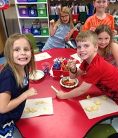 We tried salsa, queso and guacamole at our fiesta!