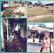 Ms. Lara had storm damage to clean up and then she relaxed by the pool