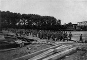 Russian soldiers crossing the Vistula River