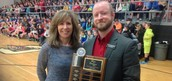 Mrs. Simkins with Travis Sappington from the Central MO Food Bank, receiving the award for Boone County