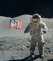 Neil Armstrong Sticking to American Flag into the moon