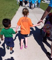 Holding hands while we all walk together!
