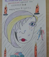 Erdoan's candle picture 8th grade against the violence above children