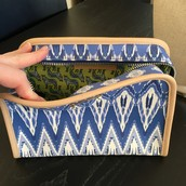 SOLD $9 Beauty Bag in Indigo Ikat