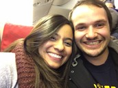 Adry + Dom on the plane to Morocco