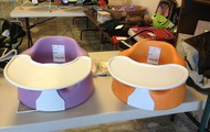 Bumbo Seats w/tray and safety straps added
