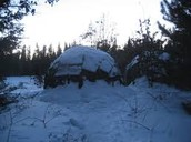 A wigwam during the winter