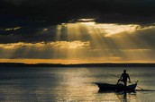 Un beau coucher de soleil à Madagascar